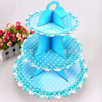 Wholesale Display Tier Wholesale - 3 Tier Round Paper Foldable Cake Rack Food Stand Display Shelf Birthday Party Wedding Cake Tray Cupcake Stands