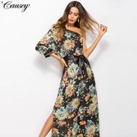 Sommer Maxi Kleid Frauen Blumendruck Kleid V-Ausschnitt ärmellose Spaghetti  Strap Backless Side Split Sexy langes Kleid 233adcbe6d