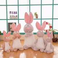 juguetes grises al por mayor-Conejito de conejo de orejas largas de peluche de juguete conejo gris muñeca de peluche muñeca niña almohada niños regalo creativo