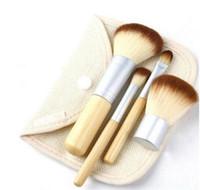 düğme yapma aletleri toptan satış-Makyaj Aracı 4 Adet Set Kiti ahşap Makyaj Fırçalar Güzel Profesyonel Bambu Elaborate makyaj fırça Araçları Ile Vaka fermuar çanta düğme çantası