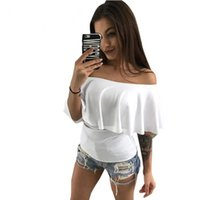 b3f92e8cd4 2018 Casual Ruffle Slash Neck Blouse Summer Shirt Women Sexy Short Sleeve Fashion  Black White Blouses Blusas Off Shoulder Top
