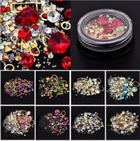Wholesale Crystal Stickers - Four -Types Nail Art Tips Crystal Glitter Rhinestone For Nail Water Stickers Alloy 3D Nail Art Rhinestones Decoration