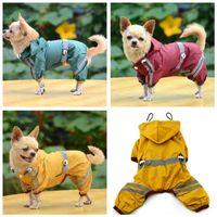 tissu de fibres achat en gros de-Vêtements pour animaux de compagnie vêtements imperméable imperméable léger veste de pluie gilet de pluie poncho avec bande réfléchissante en plein air chiffon pour animaux de compagnie en gros