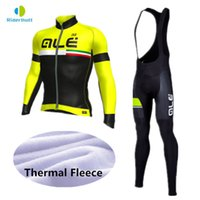 Wholesale Cheap Long Sleeve Cycling Jerseys - 2018 men's sets ale cycling clothing Winter Thermal Fleece long sleeve cycling jersey pants   cheap cycling jerseys