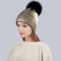 ingrosso palla di pelliccia del cappello di baseball-Berretto da baseball lavorato a maglia per berretti da baseball per adulti Cappellino invernale per berretti da baseball per donna