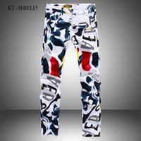 3d moda boya toptan satış-Toptan-Erkek Denim Pantolon Sonbahar Yeni Ünlü Marka Adam Casual Pantolon Moda 3D Boyalı Kot Beyaz Sıska Pamuk Pantolon Vaqueros Hombre