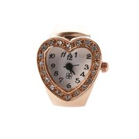 Wholesale mini cluster - Fashion Women's Girls Crystal Rhinestones Decor Heart Shaped Housing Stretch Elastic Band Mini Quartz Finger Ring Watch (Copper)