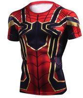 camiseta cosplay al por mayor-Avengers Infinity War Iron Spiderman Camiseta Cosplay Disfraces Superhero Spiderman Camisetas Hombres Tops