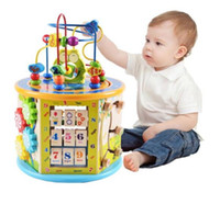 Wholesale wooden shaped beads - Large Size 8 in 1 Wooden Learning Bead Maze Cube Activity Center Shape & Color Sorter,Gear & Counting Children Educational Toys