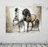 Wholesale brown wall panel art resale online - Retro nostalgia brown horse horse dance original living room VINTAGE home decor Modern animal oil painting on canvas wall art painted