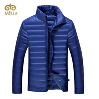 Wholesale men s clothing goose - 4XL 3XL Big Size Solid Thick Hot Winter Man Wine Black Blue Navy Stand Collar White Down Coat Parka Brand Clothing for People