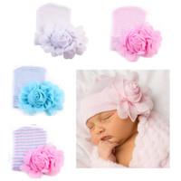 Wholesale beanie girl flower hats resale online - Newborn hat Beanies Big flower Infants hats Caps Maternity Soft Spring Autumn Cotton Striped European months