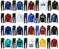 Wholesale russia soccer - 2018 World Cup Argentina Belgium Russia Colombia Mexico France Germany Spain Portugal Soccer Tracksuit Football Jacket Training Suit Custom