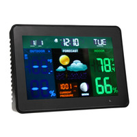 Wholesale weather station sensors resale online - Meteo Station Wireless Weather Station Color In Outdoor Thermometer Hygrometer Temperature Humidity Alarm and Snooze EU US Plug