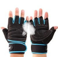 Wholesale finger support gloves - Gym Gloves With Wrist Support Men Women Body Building Sports Fitness WeightLifting Gloves Custom Exercise Gym Glove Half Finger