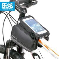 sacoche de vélo achat en gros de-ROSWHEEL 5.7 '' Noir Vélo Tube Tube Avant Mountain Bike Téléphone Cas Sac Vélo Vélo Bicyclette Double Sacoche Vélo équipement