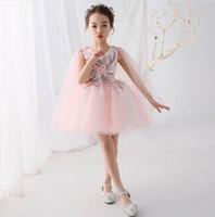 flor de tul blanco hasta la rodilla al por mayor-Little Princess Pink Tulle Above Knee Length Party Vestido de niña con flores Beautiful Children Dress Tul blanco