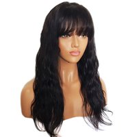 Wholesale front lace wigs free human hair resale online - Human Hair Wavy Wig Lace Front Wigs Natural Wave Full Lace Wig Glueless Peruvian Virgin Hair Free Part Wig