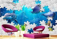 unterwasser-wandmalereien für großhandel-Tapete 3d Wandbilder für Wohnzimmer Underwater World Dolphin 3D Stereo TV Background Wall