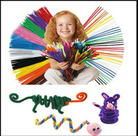 Wholesale chenille pipe resale online - Chenille Stems Pipe Twist Rods Cleaners Kids Craft Educational Toys cm r twist rod wool strip toy KKA5619