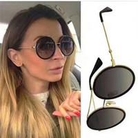 hochwertige brillengestell großhandel-Luxus frauen markendesigner sonnenbrille 0061 Mode Stil Mischfarbe Retro Runde Rahmen für frauen Top Qualität brillen uv-schutz Objektiv