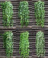 ingrosso piante artificiali da giardino pendenti-12 PZ Verde Artificiale Falso Appeso Vite Pianta Foglie Fogliame Fiore Ghirlanda Giardino di Casa Appeso A Parete Decorazione IVY Vite Forniture