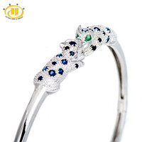 браслет из сапфирового камня оптовых-Hutang Stone Jewelry Natural Sapphire & Emerald Solid 925 Sterling Silver Leopard Bangle Bracelet for Women Fine Fashion Jewelry