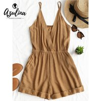 db3a4800c619 20187 AZULINA Cross Front Rolled Up Hem Romper Women Rompers Solid Jumpsuit  Summer Short Overalls Jumpsuit Female Girl Cotton Playsuit