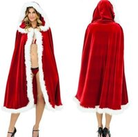 Wholesale santa claus woman costume for sale - Christmas Costume Cloak Velvet Fur Cloak Capa Red Cloak Cape for Women Mrs Santa Claus Hooded Christmas