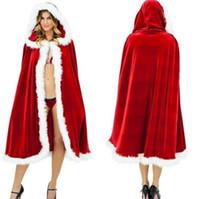 kadınlar için santa claus kostümleri toptan satış-Noel Kostüm Cloak Kadife Kürk Pelerin Çapa Kırmızı Pelerin Pelerin Kadınlar için Bayan Noel Baba Kapşonlu Noel