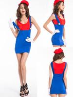 super mario sexy kostüm großhandel-Kostenloser Versand Sexy Damen Super Mario Luigi Brüder Rot Grün Kostüm Frauen Hen Party Nacht Plus Größe S-2XL