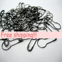 Wholesale clothing tags labels online - 22mm Gunmetal Black Garment tag accessories gourd shaped brooch clothing label safety pins crochet