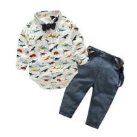 erkek çocuklar donanma kravat toptan satış-2018 Yenidoğan Bebek Boys Dinozor Romper Donanma Tulum Kıyafetler Bow Kravatlar Bebek Erkek Bebek Giyim Bodysuit Tulum Çocuk Kıyafetler Giysileri