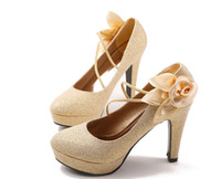Wholesale Maids Shoes - New bride wedding shoes female red fine with waterproof Taiwan golden bride shoes pointed maid honor 56813