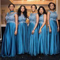 Wholesale Ocean Color Dresses - 2018 South African Ocean Blue Bridesmaid Dresses Mermaid Sequins Appliques Sheer Neck Maid of Honor Gowns Plus Size