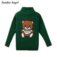ingrosso ragazzi maglia maglione modello-Sundae Angel Boys maglione del fumetto O-Collo Inverno a maniche lunghe Orso modello Knit Addensare vestiti del bambino maglione ragazze Bambini 1-8Y