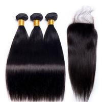 venta de paquetes de cierre al por mayor-Grado 10 Una extensión de tres paquetes de cabello humano brasileño con cierre de encaje 4 * 4 pulgadas Color natural Pelo virgen Venta caliente