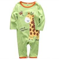 vêtements mignons bébé éléphant achat en gros de-Enfant nouveau-né bébé fille Cartoon Éléphant Romper Vêtements mignons d'automne Outfit
