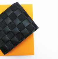 Wholesale small card boxes online - Paris plaid style Designer mens wallet famous men luxury brand wallet special canvas multiple short small Slender wallet with box