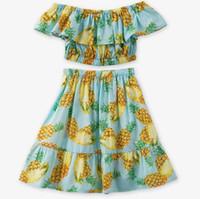 Wholesale Green Print Skirt - Retail 2018 Summer Girl Clothing Sets Pineapple Print Beach Dresses Shoulderless Top+Ruffles Long Skirt Kid Outfits 3-5Y E2002