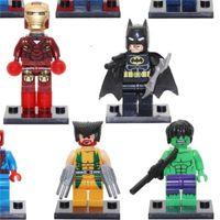 Wholesale film characters - Super Heroes Puzzle Assembled Building Blocks Sets Plastic Minifigure Bricks Toys Cartoon Film Character Series Model 1 7jr W