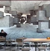 decoração mural mural venda por atacado-3D Estender Espaço Cimento Adesivo De Papel De Parede Cafetaria Bar Decoração Mural Personalidade Geometria Fundo Bardian Criativo 35mn bb