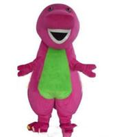 Wholesale free fancy dress - 2018 High quality Barney Dinosaur Mascot Costumes Halloween Cartoon Adult Size Fancy Dress
