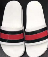 Wholesale genuine designs - 2018 Black Rubber Slide Fashion Sandal Slippers Green Red White Stripe Fashion Design Men Women with Box Classic Ladies Summer Flip Flops