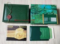 caixas de presente relógio de luxo venda por atacado-Luxo de Alta Qualidade Verde Original Caixa De Relógio Caixa de Caixas de Bolsa Para O Céu-Morador m326934 116660 116610 116710 Homem mulher presente Relógios caixa