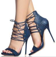 sandales à talons hauts zip achat en gros de-Été 2018 Femmes Sexy Noir / Bleu Cross Lace Up Toe Zip Back Talons À Talons Hauts Talon Parti Sandales Chaussures Dame
