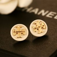 Wholesale Gold Metal Studs - 2018 top Quality Famous Brand Jewelry Fashion Stainless Steel Style Luxury Gold Plated Earrings Stud For Men Women