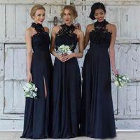 Wholesale modest sky blue bridesmaids dresses for sale - Group buy 2018 Cheap Navy Blue Bridesmaid Dresses Long Chiffon A Line Halter Split Side Lace Formal Dresses Party Lace Modest Maid Of Honor Dress
