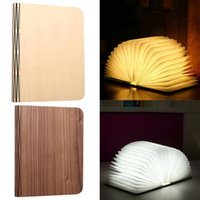 Wholesale Nightlight Portable Wooden Book Shape USB Foldable Desk Lamp Warm White Rechargeable Reading Light for Home Decor Creative