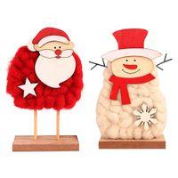 ingrosso bambole sentite-giocattolo natalizio per bambini Decorazione natalizia innovativa Feltro di lana Vecchio pupazzo di neve in legno Decorazione bambola Regalo per bambini